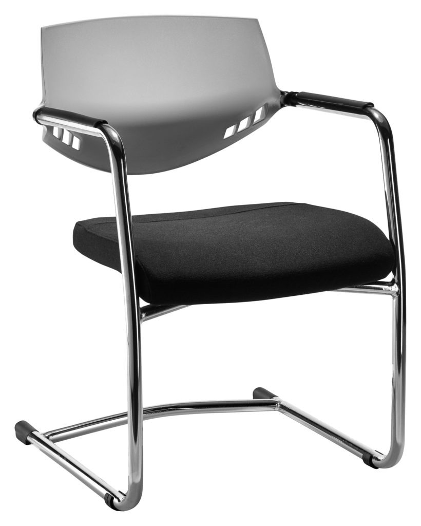 Auriga Visitors chair - Grey backrest with sleigh base frame