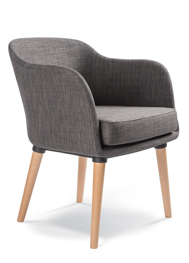 BOBBY chair fully upholstered with wooden tapered legs