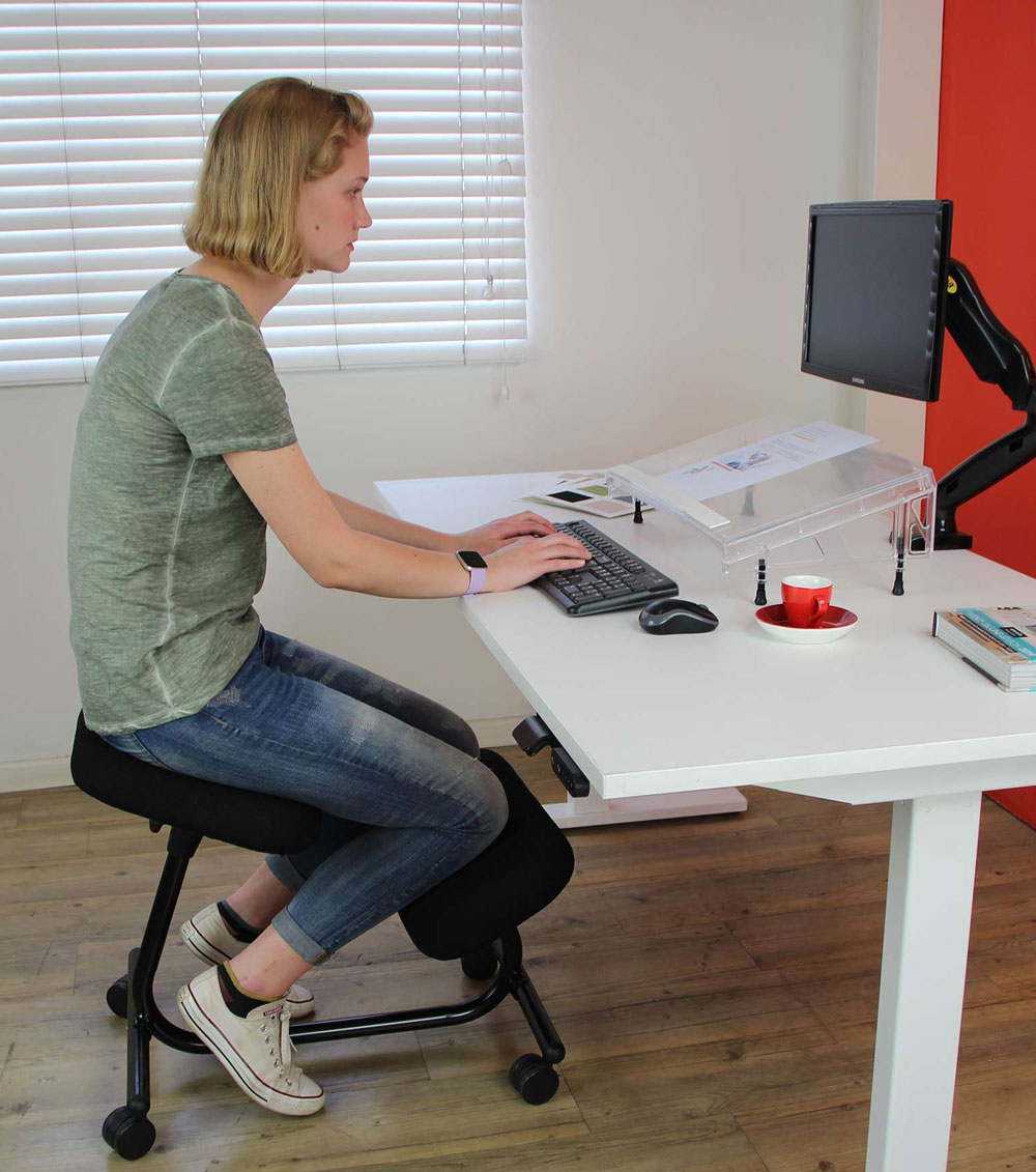 working surface too low when sitting on a kneeling chair