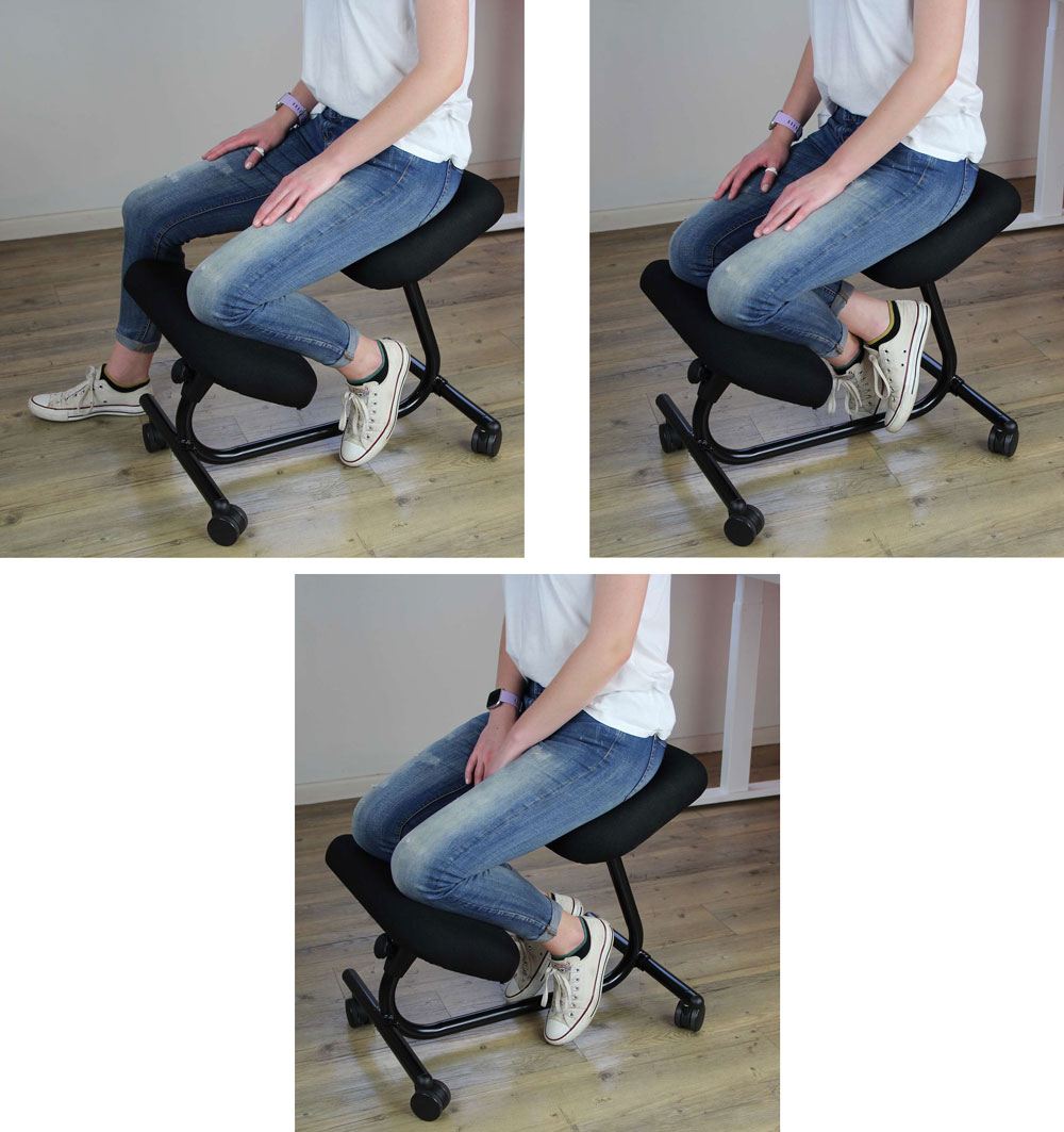 different seated positions on a kneeler