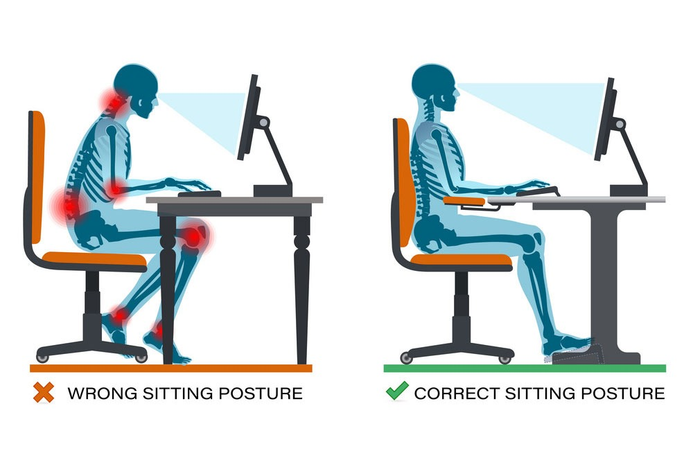 correct sitting posture to avoid shoulder pain