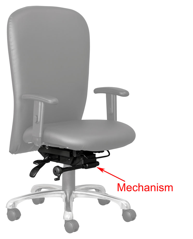 mechanism on an office chair suitable for control rooms and call centres