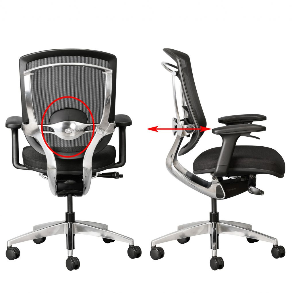 depth adjustable back support on Alya office chair