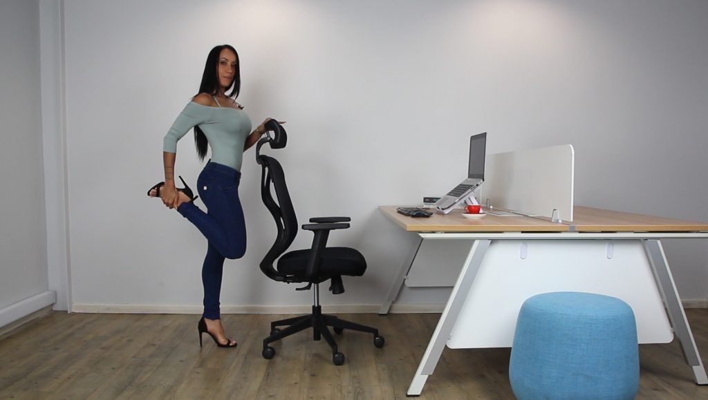 stretches and exercises for when you work or study at home using your desk , table and chair