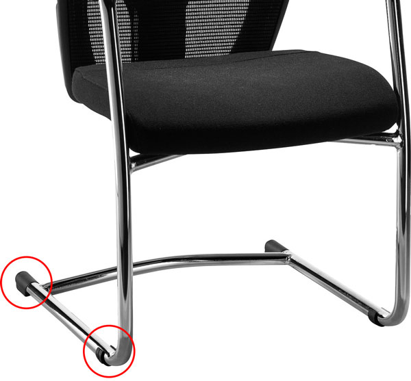 sleighbase visitor chair fitted with clides